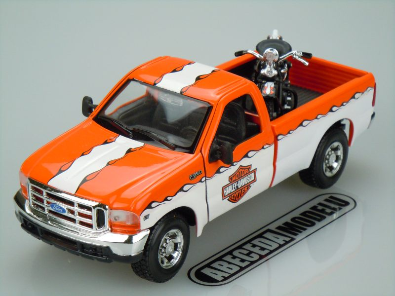 Maisto 1:27 Ford F-350 Super Duty Pickup 1999 H-D (white/orange) code Maisto 32172, modely aut