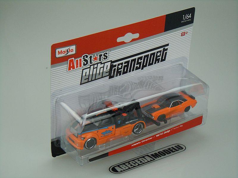 Maisto 1:64 Maisto Wrecker / Dodge Challenger R/T 1970 code Maisto 15055, modely aut