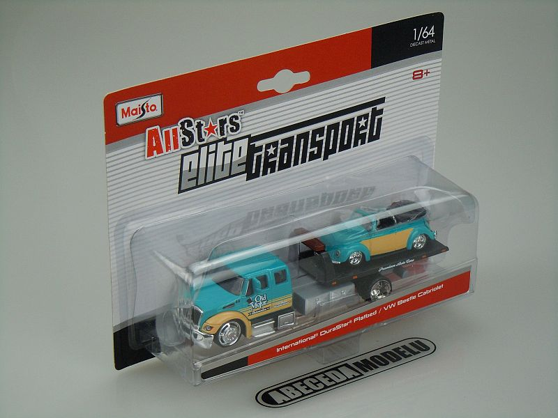 Maisto 1:64 International DuraStar Flatbed / VW Beetle Cabriolet code Maisto 15055, modely aut