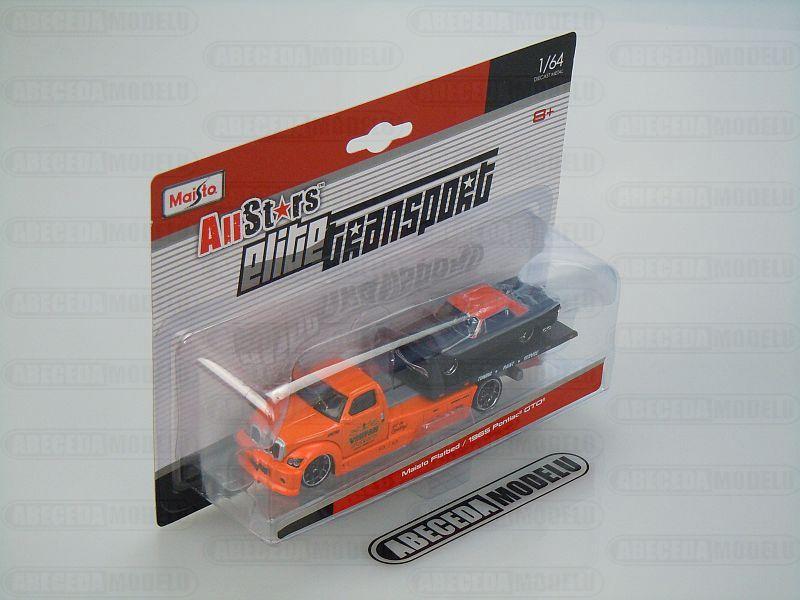 Maisto 1:64 Maisto Flatbed / Pontiac GTO 1965 (orange) code Maisto 15055, Modely aut