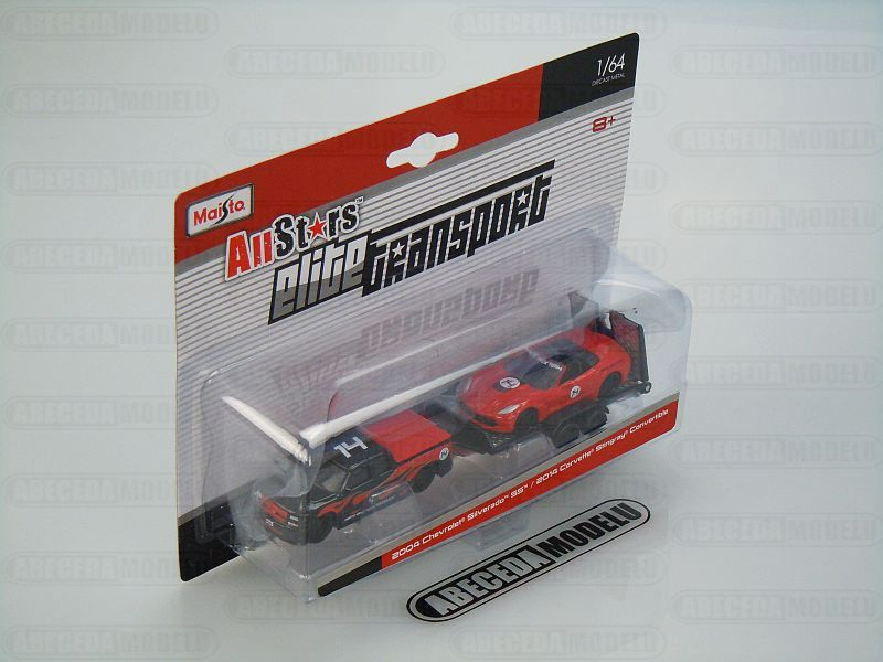 Maisto 1:64 Chevrolet Silverado SS / Corvette Stingray Convertible 2014 AllStars Elite Transport (red) code Maisto 15055, modely aut