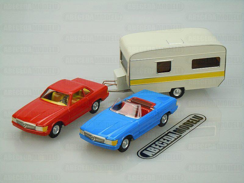 Kovap 1:43 Mercedes set No.1 2x auto + přávěs code Kovap 0651, plechová hračka