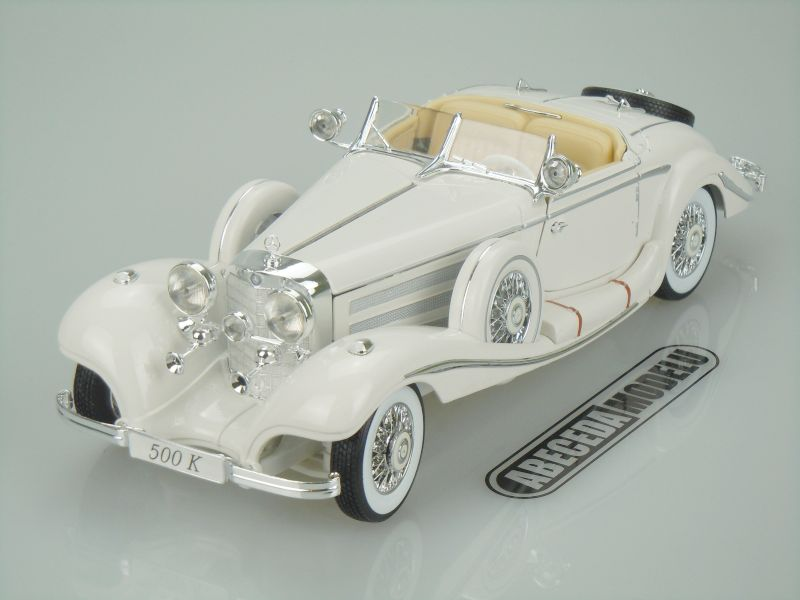 Maisto 1:18 Mercedes Benz 500K Specialroadster Maharadscha (white) code Maisto 36055, modely aut