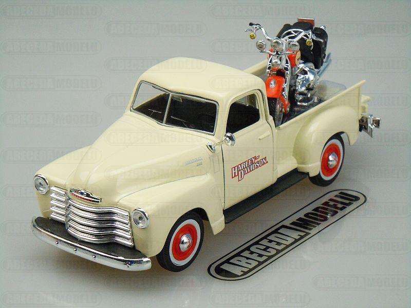 Maisto 1:25 Chevrolet 3100 Pickup 1950 Harley Davidson FLSTS Heritage Springer 2001 1:24 (beige) code Maisto 32194, auto moto modely