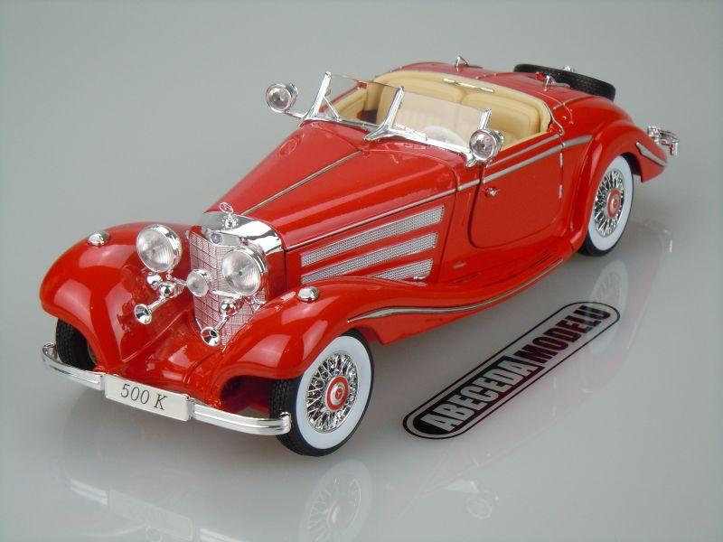 Maisto 1:18 Mercedes Benz 500K Specialroadster 1936 (red) code Maisto 36862, modely aut